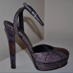 Gucci Purple Python Platform Heels 39